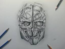 Dishonored Mask Corvo U0027s Mask From Dishonored 2 Drawing I Did 14yo Self Learning