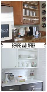 painting oak cabinets white before and after