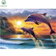 dolphin home decor dolphin dusk 5d diamond embroidery full diamond cross stitch oil