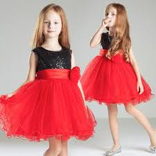 black red short kids formal gown sequin tulle cheap simple little