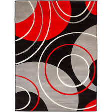 Modern Black Rugs Circles And Rings Contemporary Black And Grey Carved With