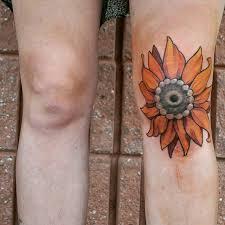 sunflower knee best tattoo design ideas