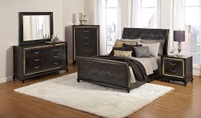Bedroom Sets With Matching Desks Queen Sleigh Bed With Faux Crocodile Upholstery And Tinted Glass