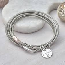 leather wrap bracelet with charm images Personalised sterling silver and leather wrap bracelet by jpg