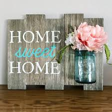 Housewarming Decoration Ideas by Home Sweet Home Sign Vintage Blue Ball Mason Jar Rustic Home