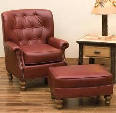 portentous red accent chair with ottoman design living room