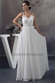 Wedding Dresses With Straps Spaghetti Straps Floor Length A Line Chiffon Wedding Dress