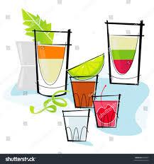 martini shaker clipart retrostylized cocktail spot illustration shots shooters stock
