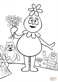 foofa with flowers coloring page free printable coloring pages