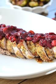 herb crusted pork tenderloin w cranberry chutney bits of