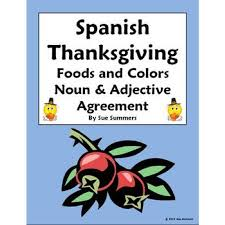thanksgiving foods colors practice with vocabulary reference