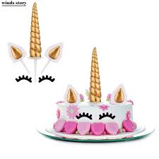 in cake toppers 3pcs set unicorn cake toppers unicornio horn ears cake decorations