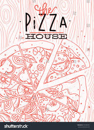 House Drawing Poster Lettering Pizza House Drawing Coral Stock Vector 555469597