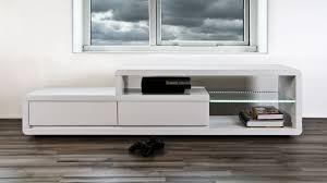 Living Room Tv Table Modern White High Gloss Tv Table 2 Drawers Glass Shelf