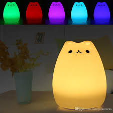 usb cat night light 2018 usb silicone night light cat shape cartoon baby nursery l