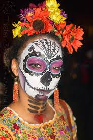 sugar skull makeup orange and yellow flowers headdress