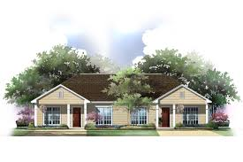 computer rendering of ranch style duplex house plan 142 1037