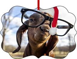 buy goat with a santa hat sided shaped flat