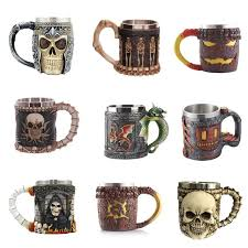 cool stainless steel skull coffee mug 3d design dragon cup