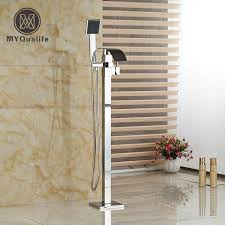 free standing bathtub faucet single handle free standing bathroom waterfall bathtub faucet