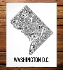 Word Cloud Map Of Washington by Washington D C Neighborhood Map Art Print Features Local Pride