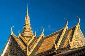 royal palace roof ornament decorations phnom penh cambodia stock