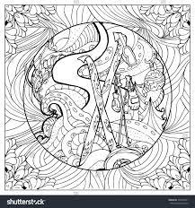 design coloring book black vector mono color illustration ski stock vector 396753841
