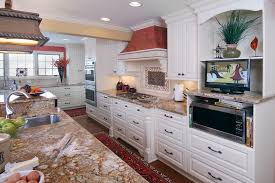 french country kitchen with white cabinets american tile and stone llc kitchen