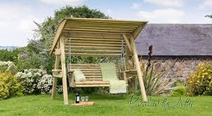 Garden Chair Swing Alicante 3 Seat Wooden Garden Swing Chair With Canopy Hammock
