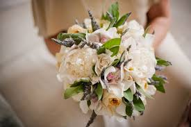 peony gardenia lavender orchid and sage bouquet photo by sam