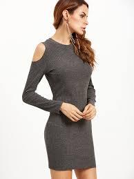grey bodycon dress grey open shoulder ribbed bodycon dress shein sheinside