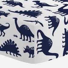 navy dinosaurs crib sheet carousel designs