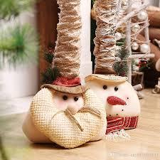 large head retractable santa claus snowman figurine cheap