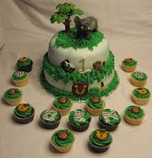 1st birthday jungle cake and cupcakes bear heart baking company