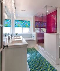 colorful bathroom with mosaic tile floor and glass shower room colorful bathroom with mosaic tile floor and glass shower room