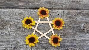 midsummer pentagram litha altar decor sunflower pentagram litha