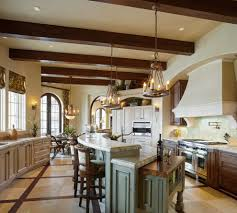 exposed wood kitchen mediterranean with recessed lighting top