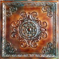 ceiling tile 3d relief ancient copper patina faux finishes pl08