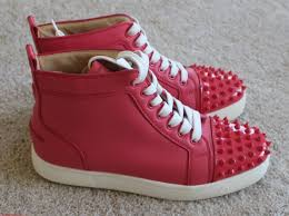 women christian louboutin coral leather round toe spiked high top