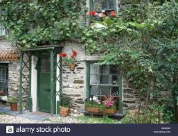 green painted door and windows on country house with flowering