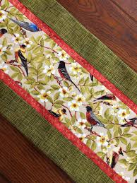 bird table runner woodland birds and dogwood blooms floral