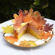 edible maple leaves autumn fall x 14 rustic orange wedding cake