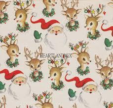 vintage christmas paper santa and reindeer vintage christmas paper digital image