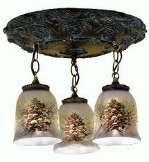49537 northwoods pinecone pinecone three pendant semi flush mount