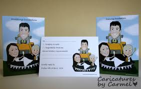wedding invitations kilkenny caricature of and groom in a jcb digger