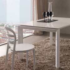 white mdf table top extendable dining table diego with glossy white mdf table top