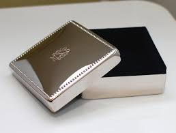 personalized box personalized square shiny silver jewelry box