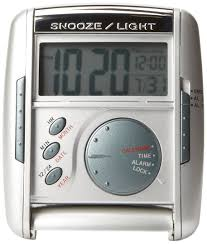 Seiko travel alarm get up and glow clock silver tone