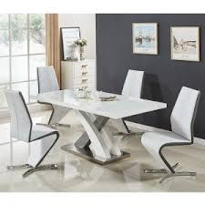 White Gloss Extendable Dining Table High Gloss Dining Table And Chairs Furniture In Fashion