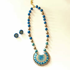 sapphire necklace earrings images Sapphire necklace earrings air dry clay necklace viya crafts jpg
